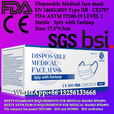 Disposable Medical face mask,3ply with Earloop,Sterile mask