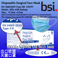 Disposable Surgical Face Mask,EN 14683:2019 Type IIR,3Ply with Earloop