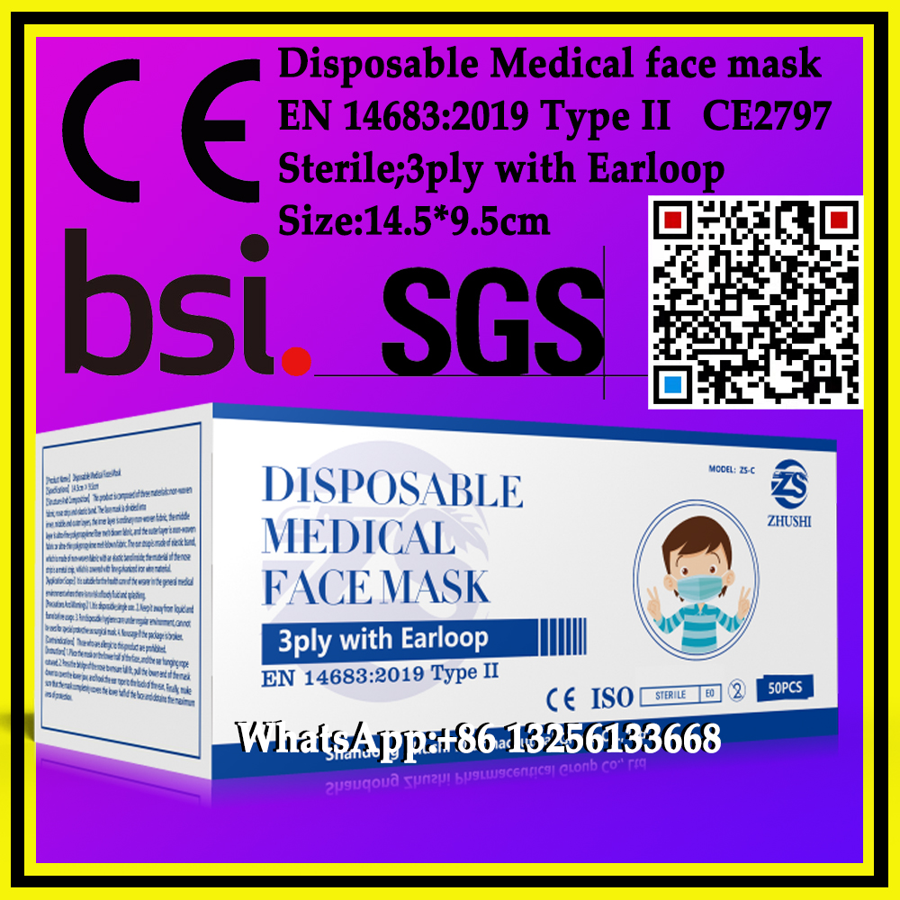 Children's mask,Disposable Medical face mask,3ply with Earloop,EN14683:2019 Type II