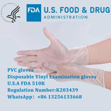 Disposable Vinyl Examination gloves,FDA 510K
